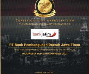 Bank Jatim Raih Penghargaan Indonesia Top Bank Awards 2021
