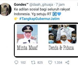 HRS Divonis 8 Bulan Penjara, Tagar #TangkapGubernurJatim Trending Topic