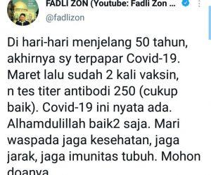 Sudah Divaksin 2 Kali, Fadli Zon Masih Kena Covid 19