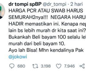 PCR di India Rp 96 Ribu, di Indonesia Rp 900 Ribu hingga Jutaan, Tompi Sentil Jokowi